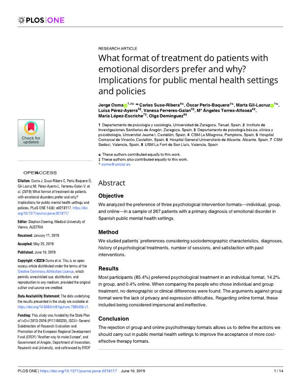 What format of treatment do patients with emotional disorders prefer and why? Implications for public mental health settings and policies