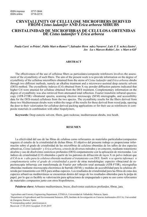 Crystallinity of cellulose microfibers derived from Cistus ladanifer and Erica arborea shrubs