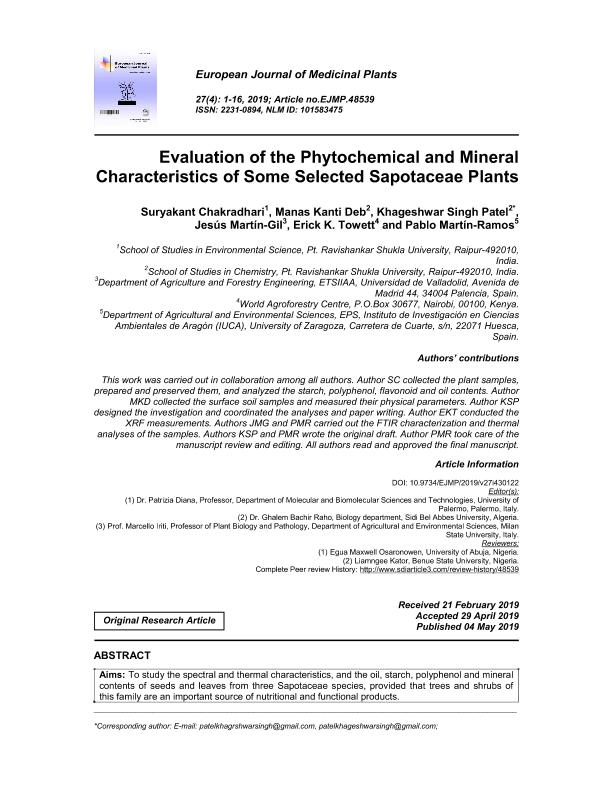 Evaluation of the phytochemical and mineral characteristics of some selected Sapotaceae plants