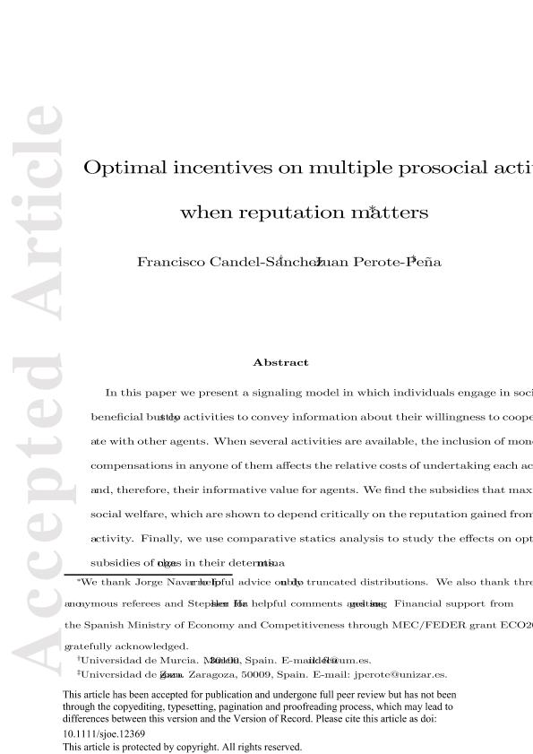Optimal incentives on multiple prosocial activities when reputation matters
