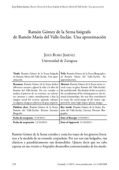 Ramón Gómez de la Serna biógrafo de Ramón María del Valle-Inclán. Una aproximación