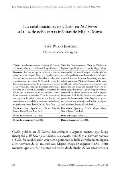 Las colaboraciones de Clarín en El Liberal a la luz de ocho cartas inéditas de Miguel Moya
