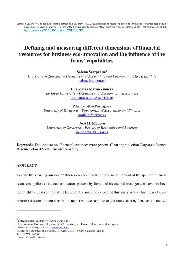 Defining and measuring different dimensions of financial resources for business eco-innovation and the influence of the firms' capabilities