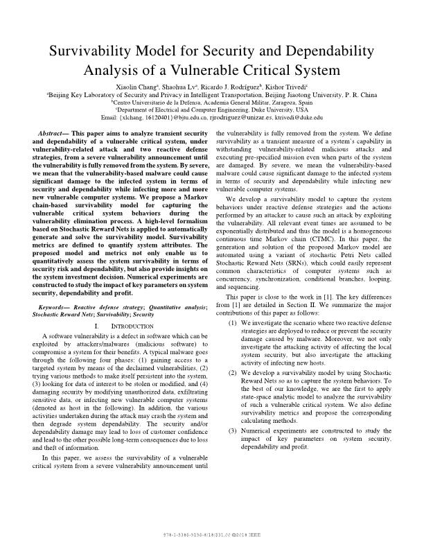 Survivability model for security and dependability analysis of a vulnerable critical system