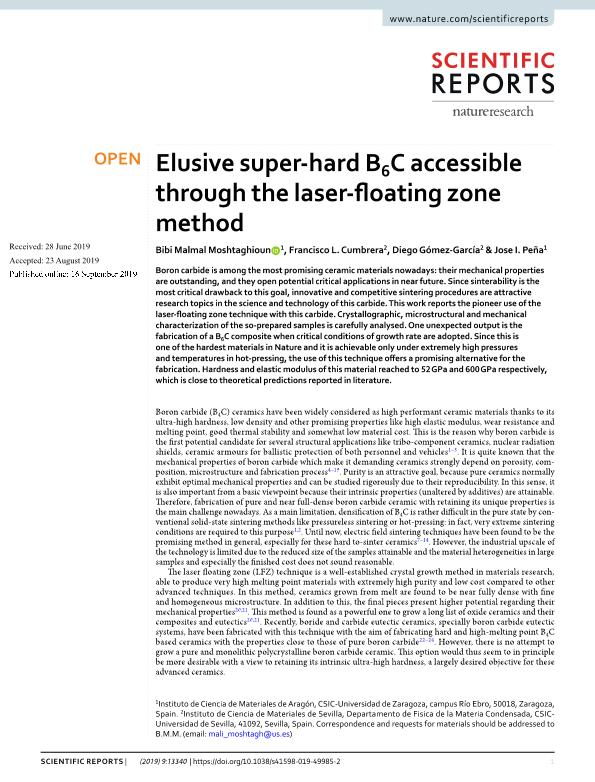 Elusive super-hard B6C accessible through the laser-floating zone method