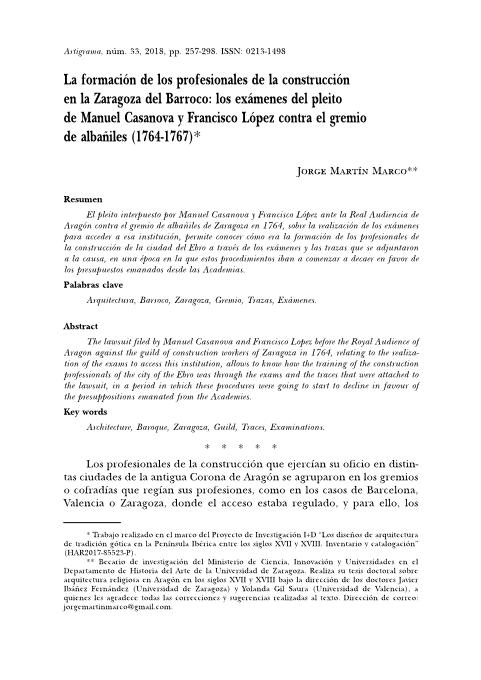 La formación de los profesionales de la construcción en la Zaragoza del Barroco: los exámenes del pleito de Manuel Casanova y Francisco López contra el gremio de albañiles (1764-1767)