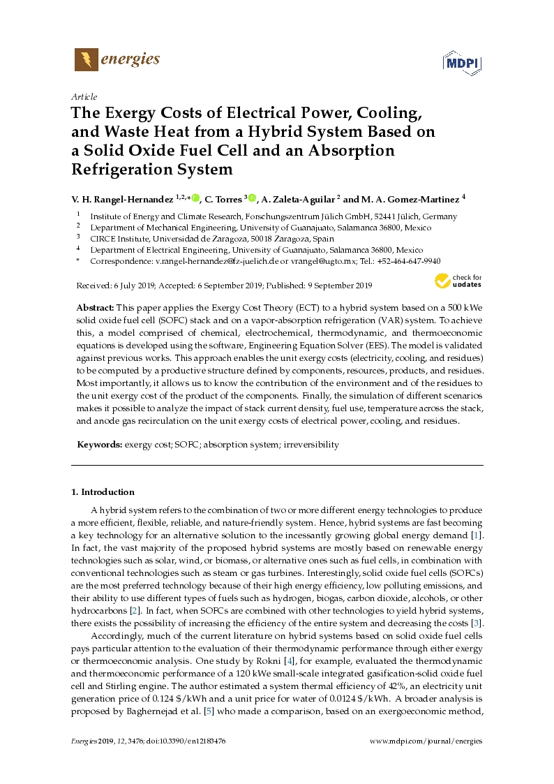 The exergy costs of electrical power, cooling, and waste heat from a hybrid system based on a solid oxide fuel cell and an absorption refrigeration system