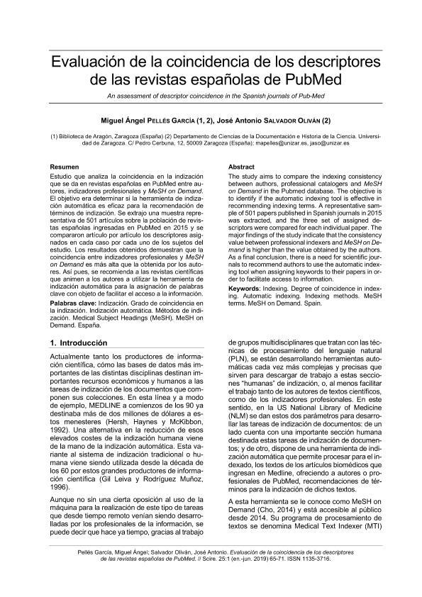Evaluación de la coincidencia de los descriptores de las revistas españolas de PubMed