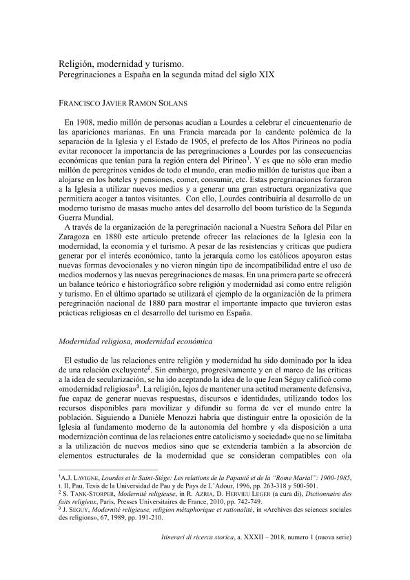 Religión, modernidad y turismo. Peregrinaciones a España en la segunda mitad del siglo XIX