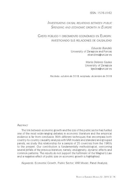 Investigating causal relations between public spending and economic growth in Europe [Gasto público y crecimiento económico en Europa: Investigando sus relaciones de causalidad]