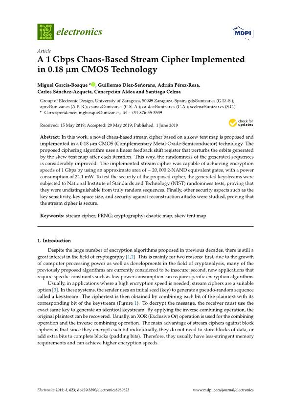 A 1 Gbps Chaos-Based Stream Cipher Implemented in 0.18 m CMOS Technology
