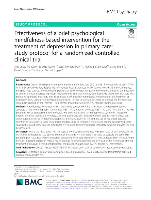 Effectiveness of a brief psychological mindfulness-based intervention for the treatment of depression in primary care: Study protocol for a randomized controlled clinical trial