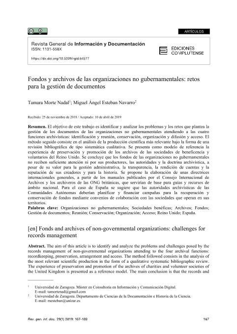 Fondos y archivos de las organizaciones no gubernamentales: retos para la gestión de documentos