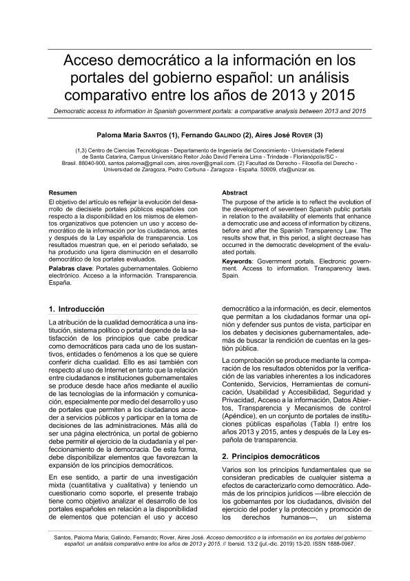 Acceso democrático a portales del gobierno español: un análisis comparativo entre los años 2013 y 2015