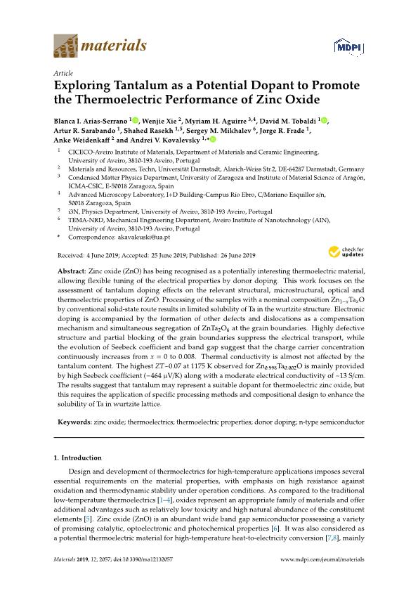 Exploring tantalum as a potential dopant to promote the thermoelectric performance of zinc oxide