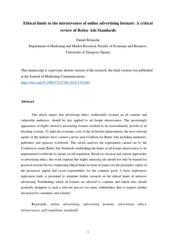 Ethical limits to the intrusiveness of online advertising formats: A critical review of Better Ads Standards