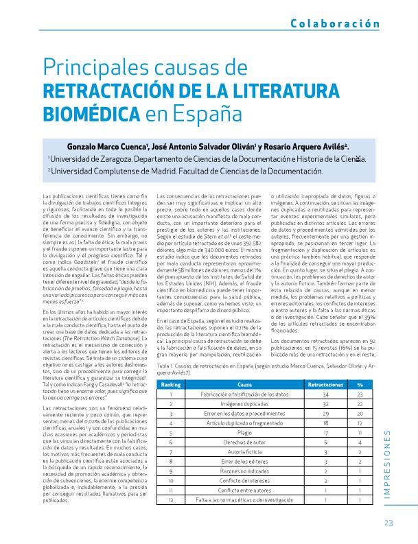 Principales causas de retractación de la literatura biomédica en España