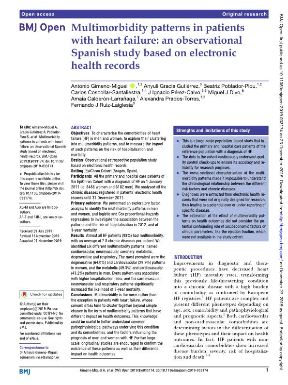 Multimorbidity patterns in patients with heart failure: an observational Spanish study based on electronic health records