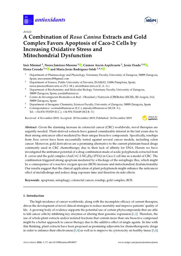 A combination of Rosa canina extracts and gold complex favors apoptosis of caco-2 cells by increasing oxidative stress and mitochondrial dysfunction