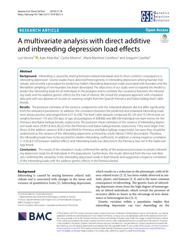 A multivariate analysis with direct additive and inbreeding depression load effects