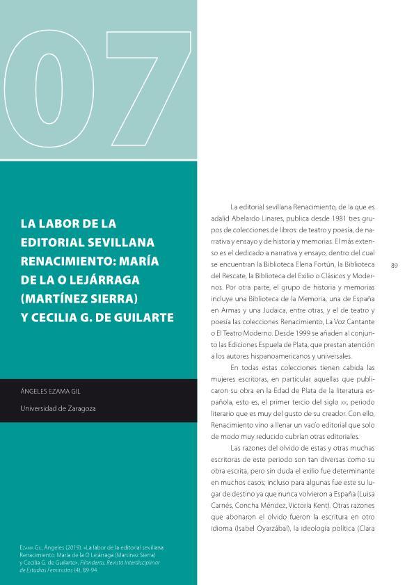 La labor de la editorial sevillana Renacimiento: Maria de la O Lejárraga (Martínez Sierra) y Cecilia, G. de Guilarte