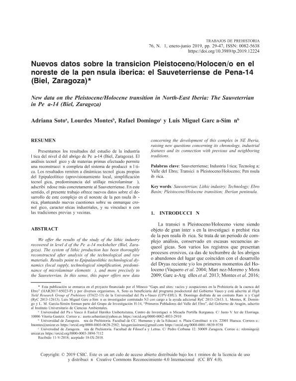 Nuevos datos sobre la transición Pleistoceno/Holoceno en el noreste de la península ibérica: el Sauveterriense de Peña-14 (Biel, Zaragoza)