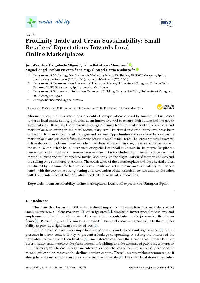 Proximity Trade and Urban Sustainability: Small Retailers' Expectations Towards Local Online Marketplaces