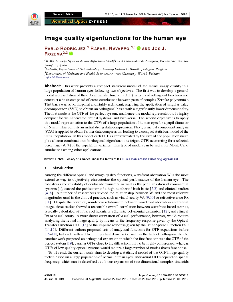 Image quality eigenfunctions for the human eye