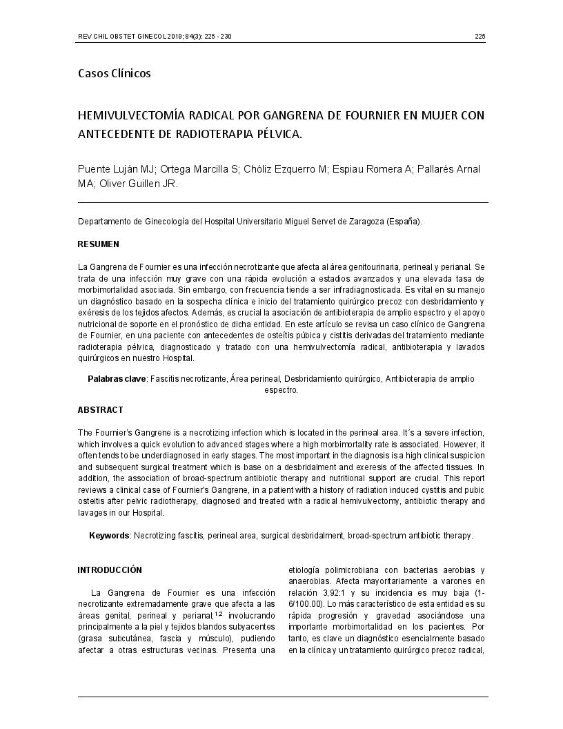 Hemivulvectomía radical por gangrena de fournier en mujer con antecedente de radioterapia pélvica