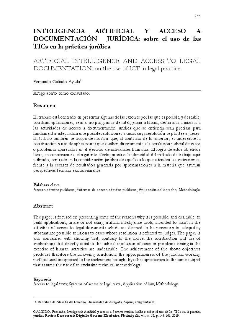 Inteligencia artificial y acceso a documentación jurídica: sobre el uso de las TICs en la práctica jurídica