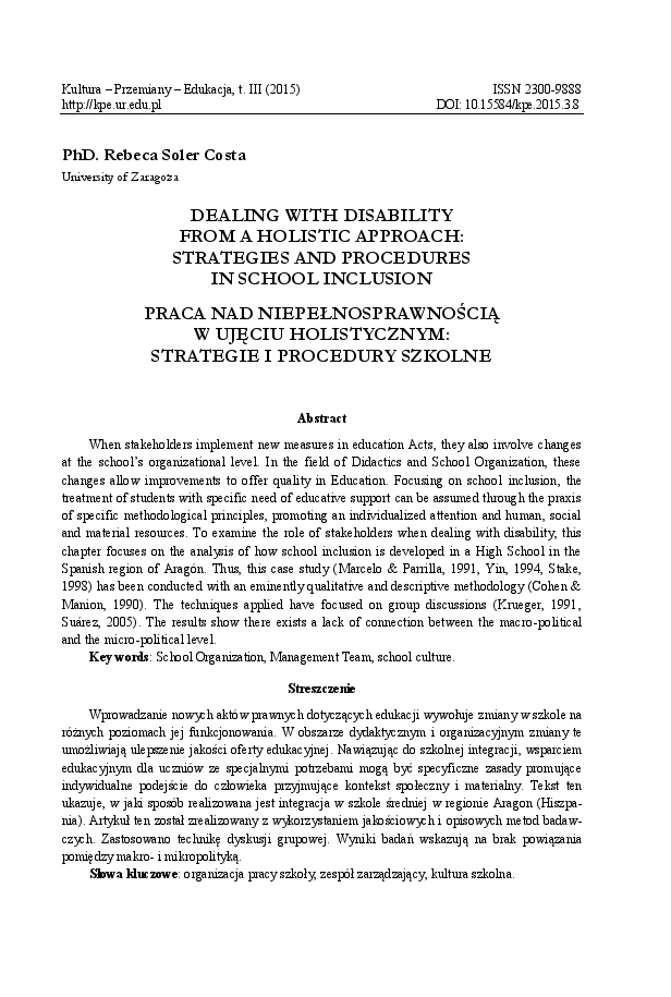 Dealing with disability from a holistic approach: strategies and procedures in school inclusion