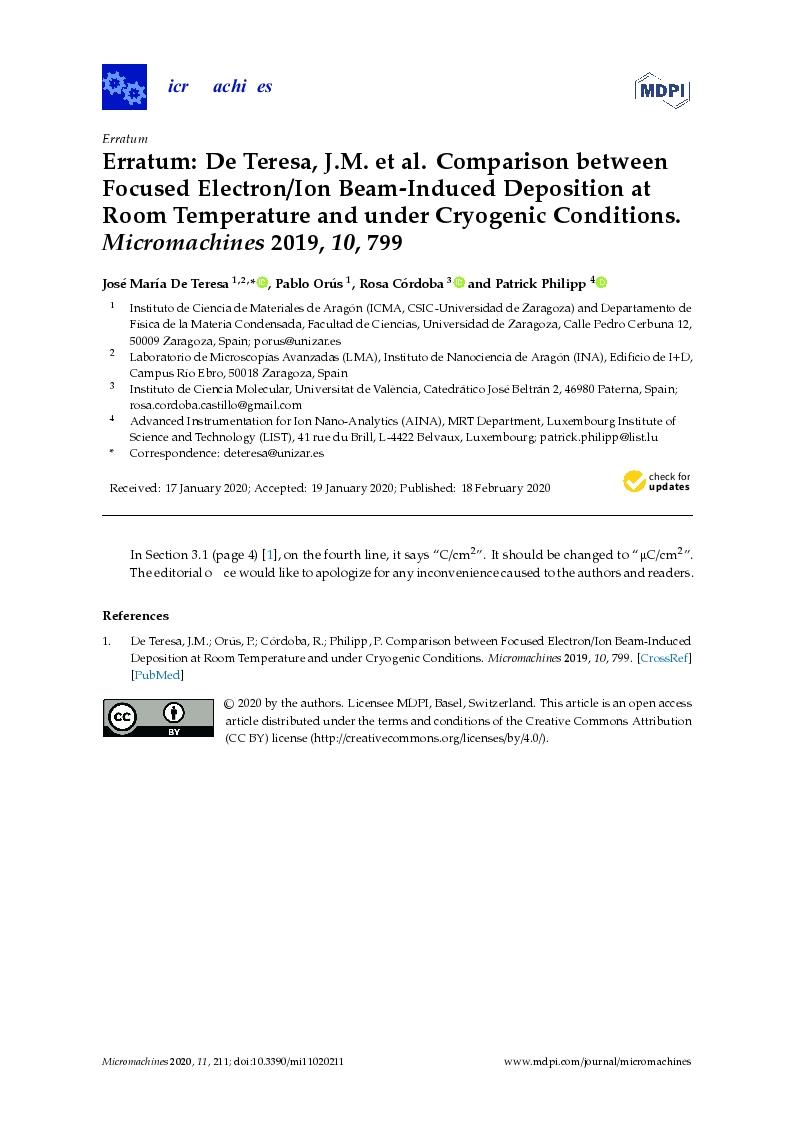 Erratum: De Teresa, J.M. et al. Comparison between Focused Electron/Ion Beam-Induced Deposition at Room Temperature and under Cryogenic Conditions. Micromachines 2019, 10, 799