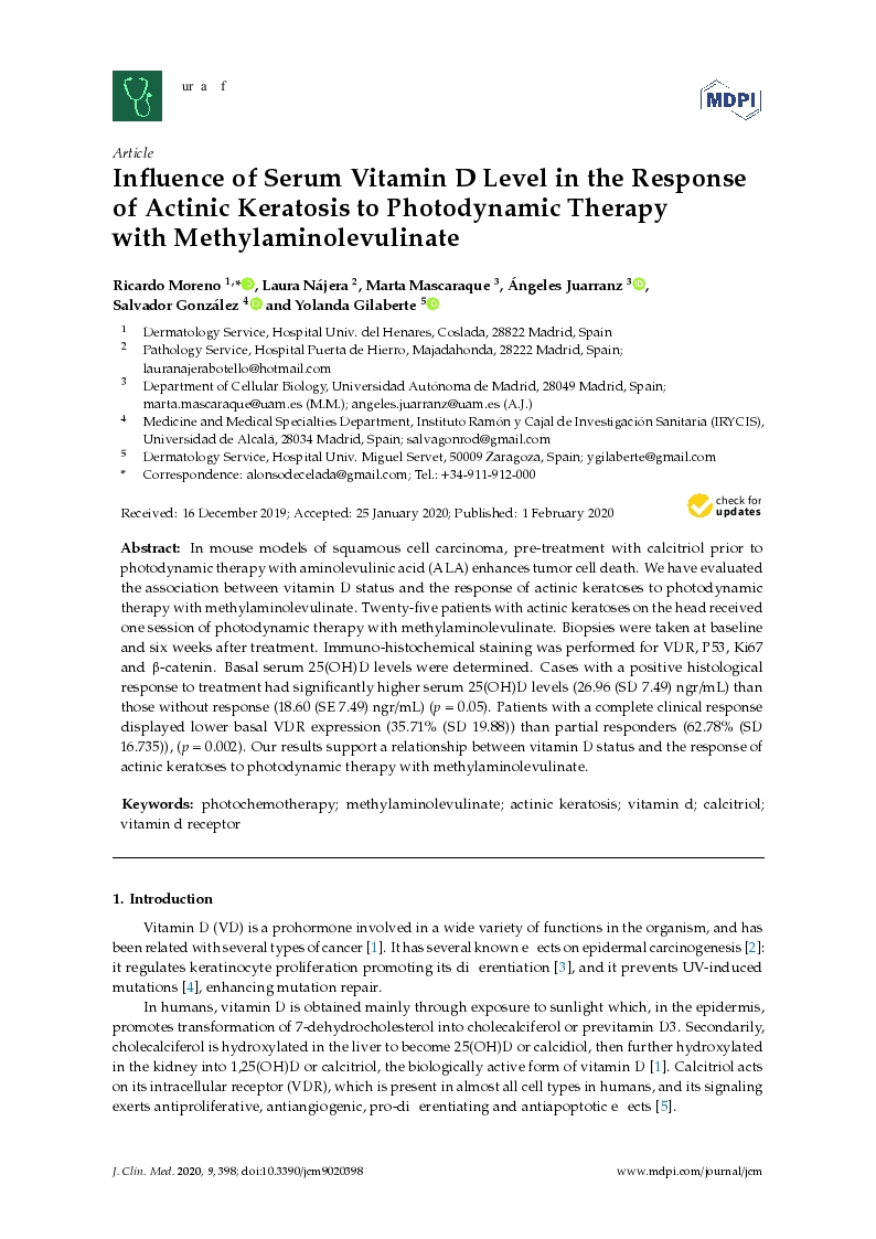 Influence of Serum Vitamin D Level in the Response of Actinic Keratosis to Photodynamic Therapy with Methylaminolevulinate