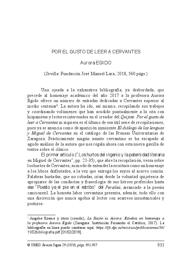 Por el gusto de leer a Cervantes. Aurora Egido. (Sevilla: Fundación José Manuel Lara, 2018, 560 págs.)