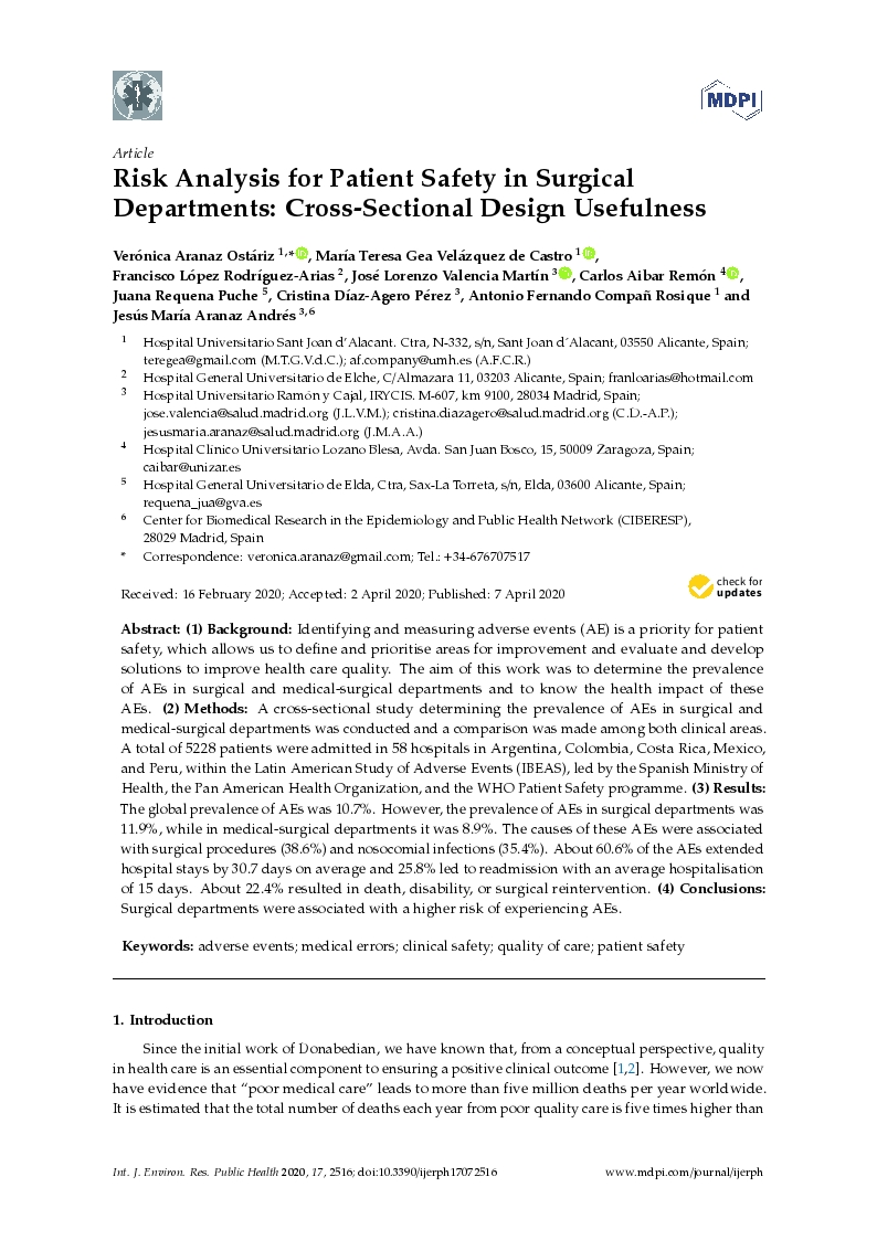 Risk analysis for patient safety in surgical departments: Cross-sectional design usefulness