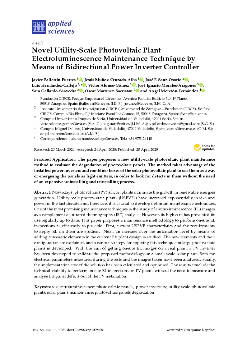 Novel utility-scale photovoltaic plant electroluminescence maintenance technique by means of bidirectional power inverter controller