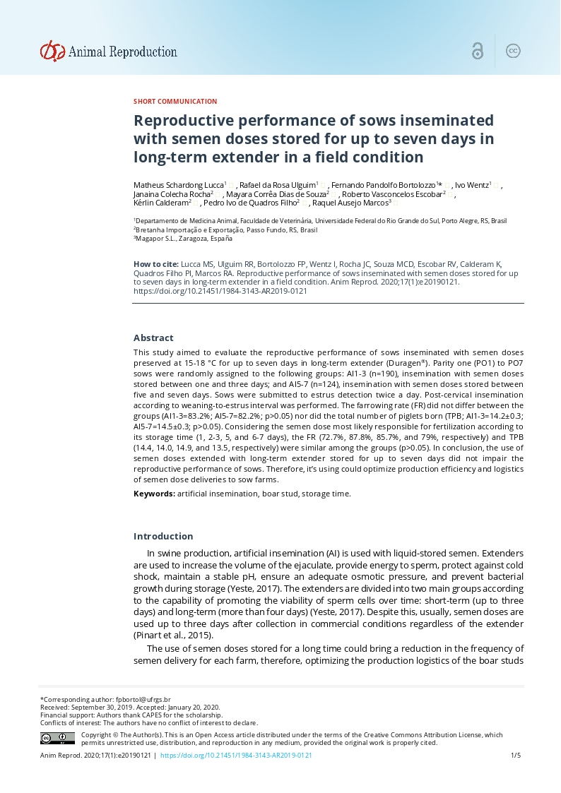 Reproductive performance of sows inseminated with semen doses stored for up to seven days in long-term extender in a field condition