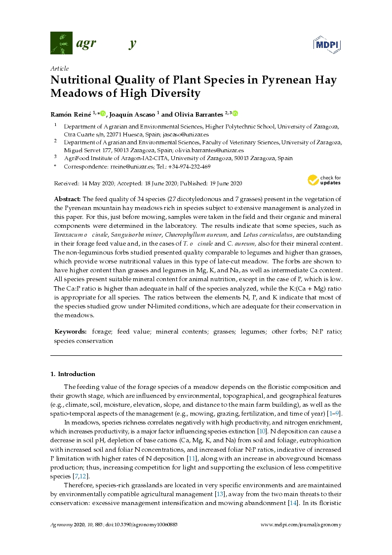 Nutritional quality of plant species in Pyrenean hay meadows of high diversity