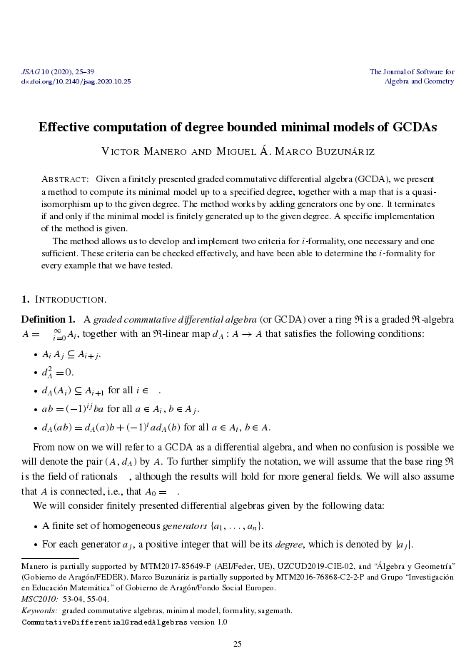 Effective computation of degree bounded minimal models of GCDAs