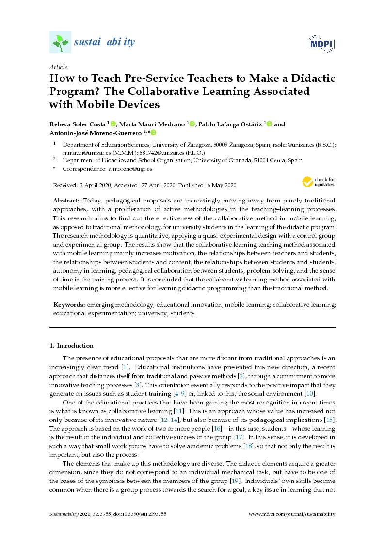 How to teach pre-service teachers to make a didactic program? The collaborative learning associated with mobile devices