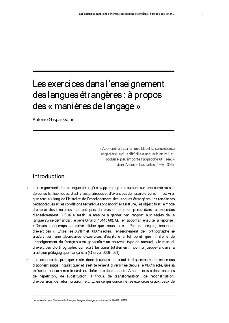 Les exercices dans l'enseignement des langues étrangères : à propos des « manières de langage »