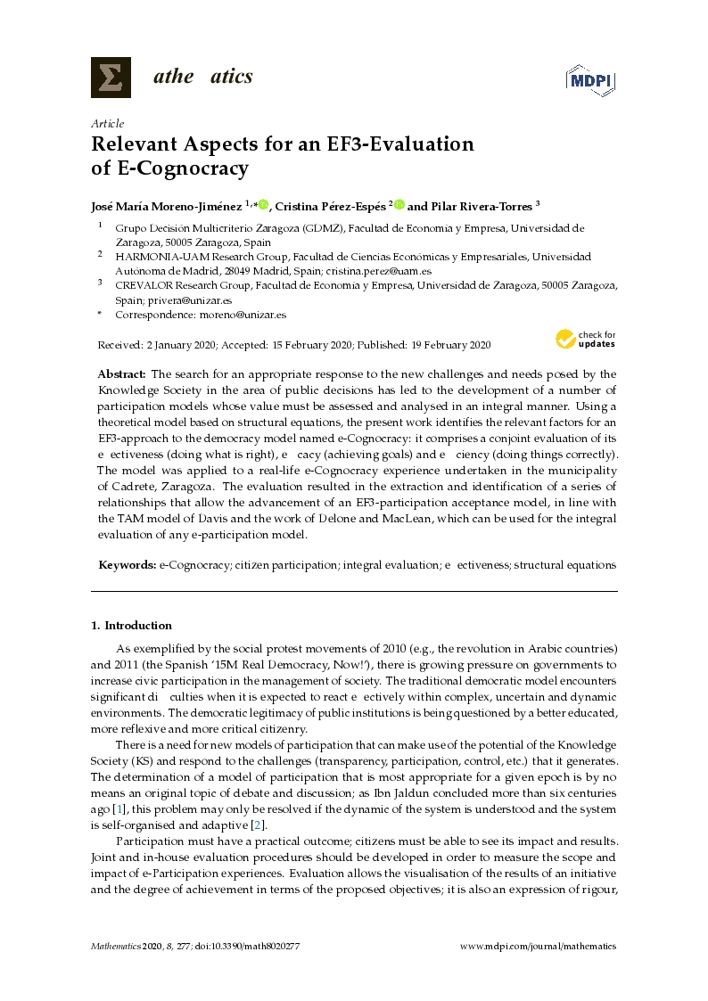 Relevant aspects for an EF3-Evaluation of e-cognocracy