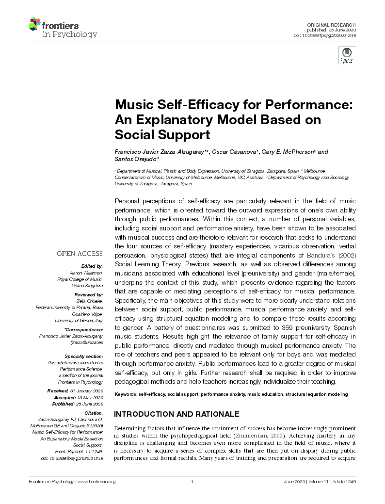 Music Self-Efficacy for Performance: An explanatory model based on Social Support