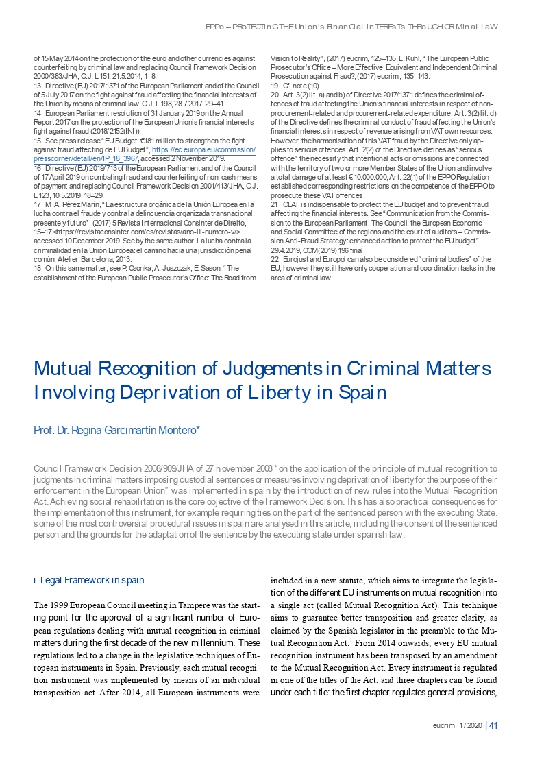 Mutual recognition of judgements in criminal matters involving deprivation of liberty in spain