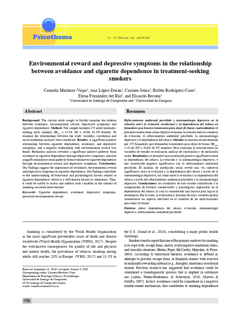 Environmental reward and depressive symptoms in the relationship between avoidance and cigarette dependence in treatment-seeking smokers