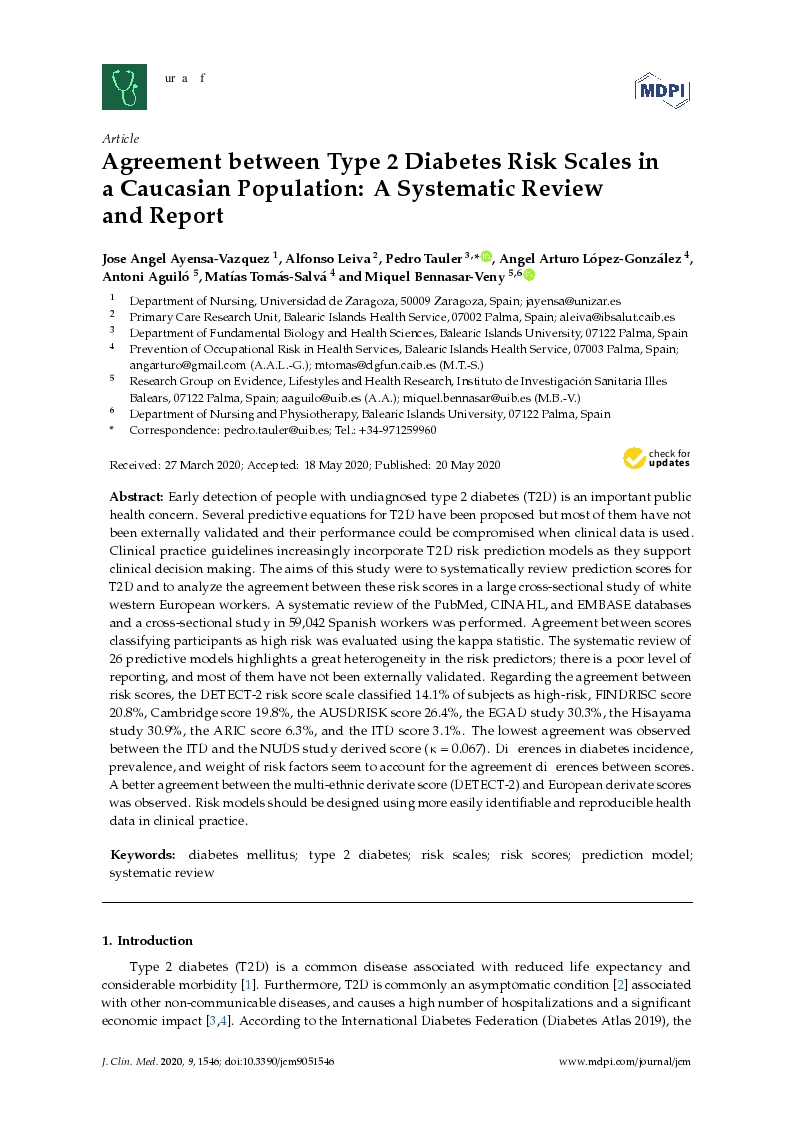 Agreement between Type 2 Diabetes Risk Scales in a Caucasian Population: A Systematic Review and Report