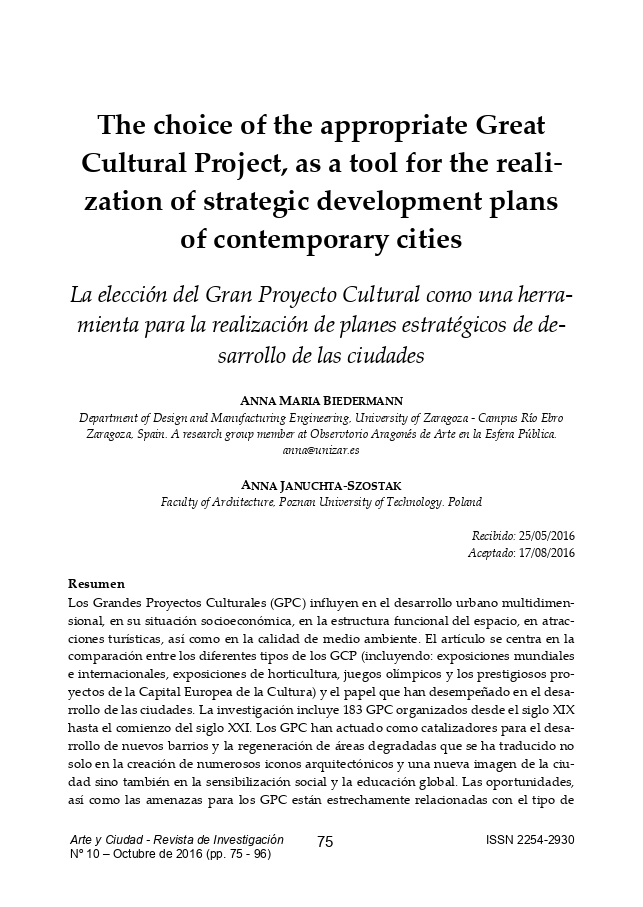 The choice of the appropriate Great Cultural Project, as a tool for the realization of strategic development plans of contemporary cities