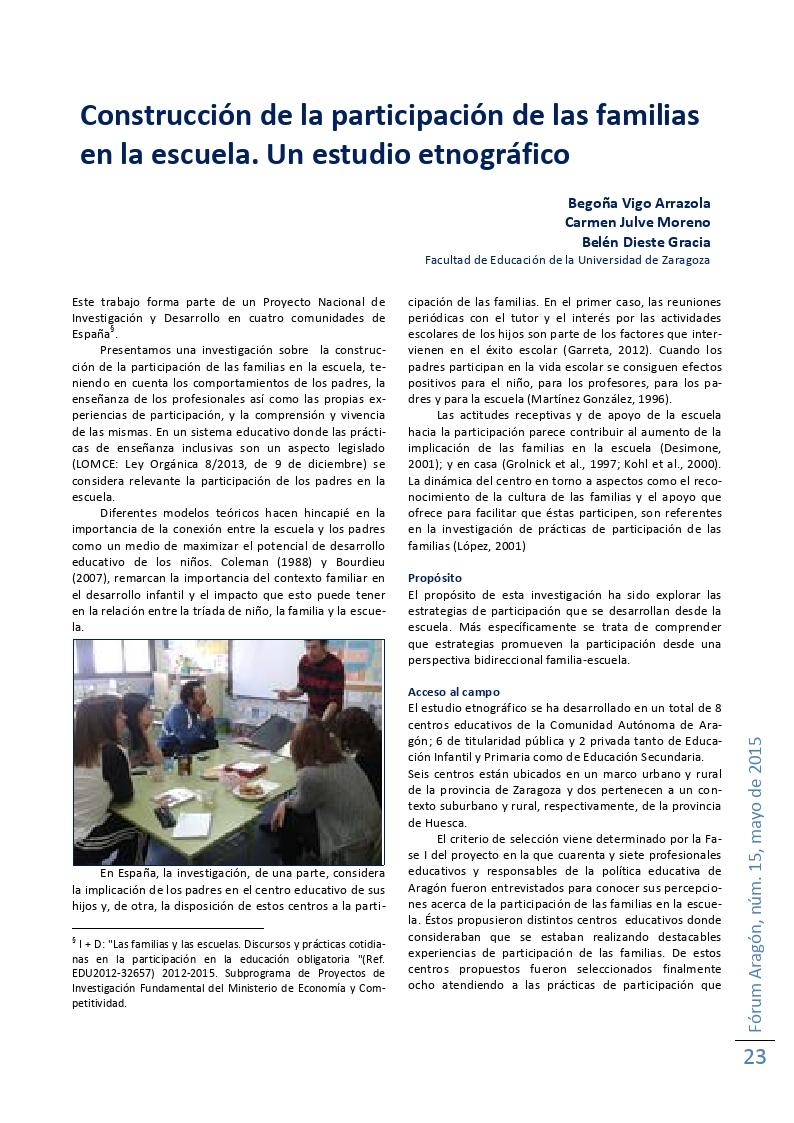 Construcción de la participación de las familias en la escuela. Un estudio etnográfico