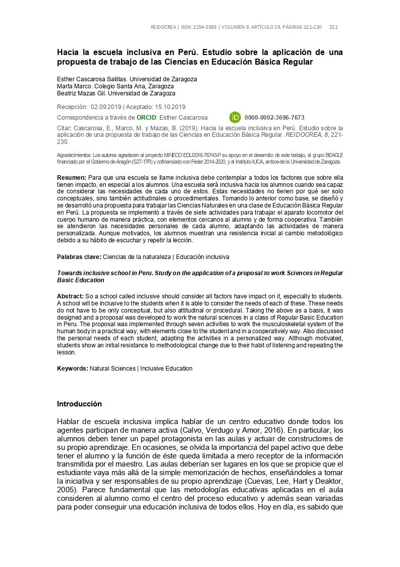 Hacia la escuela inclusiva en Perú. Estudio sobre la aplicación de una propuesta de trabajo de las Ciencias en Educación Básica Regular