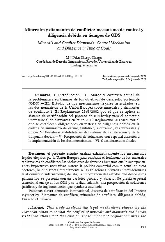 Minerales y diamantes de conflicto: mecanismo de control y diligencia debida en tiempos de ODS